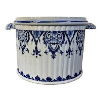 Antique 18th / 19th century French Rouen Tin Glaze Faience Delft Blue & White Pottery Seau a Bouteille Cachepot Planter
