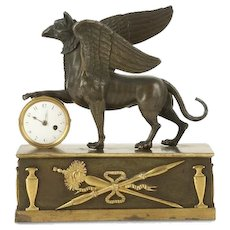 Antique Early 19th century George III Gilt Bronze Egyptian Revival Griffin Mantel Clock with Masonic Symbols by Hamleys c. 1800