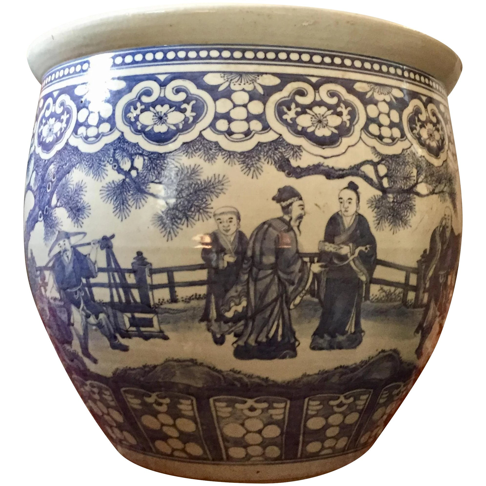 Large Antique 19th Century Chinese Blue And White Porcelain Fish Bowl Planter