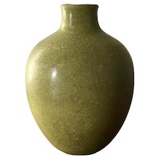 Small Antique 18th / 19th century Chinese Monochrome Yellow Crackle Glaze Porcelain Miniature Vase