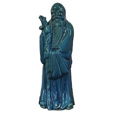 Very Large Antique 19th century Chinese Export Monochrome Porcelain Figure of Lohan Immortal or Scholar with Bright Turquoise Glaze