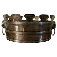 Antique 18th century English George III Old Sheffield Plate Silver on Copper Monteith / Wine Ice Bucket Planter with Lion Mask Ring Handles 1790