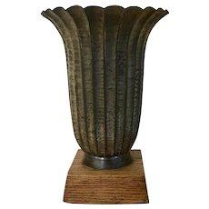 Fine Art Deco Hand Hammered & Silvered Bronze Vase Urn on Wood Stand Josef Hoffman Wiener Werkstatte Style 1930
