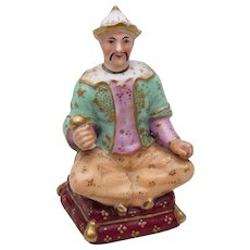 Antique French 19th century Old Paris Porcelain Scent Perfume Bottle Chinese Man Figure
