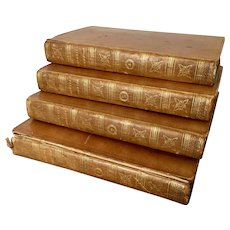 Four Antique 19th century Volumes in Full Leather Bindings - Life of Samuel Johnson by James Boswell, Esq. 1807 - Provenance:  Book Plates for Middleton Park Library - Earl of Jersey