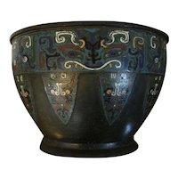 Large Antique 19th century Chinese Archaic Bronze Champleve Enamel Cloisonne Centerpiece Bowl