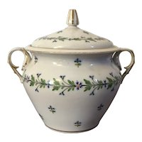 Antique Early 19th century French Empire Old Paris Porcelain Sucrier Sugar Bowl in Cornflower Sprig