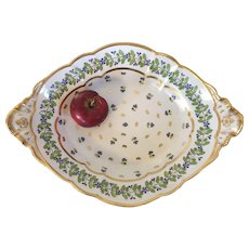 Large Early 19th century English Georgian Worcester Flight Barr & Barr Oval Platter Serving Dish or Bowl with Sprig or Cornflower Decoration
