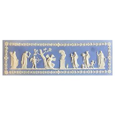 Large Antique 19th century Classical Wedgwood Style Light Blue Jasperware Plaque for Fireplace Mantel Psyche & Cupid Frieze