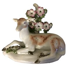 Antique 18th century English George III Derby Porcelain Figure of a Doe or Roe Deer 1765