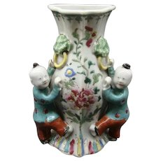 Antique 18th century Chinese Export Qianlong Porcelain Wall Pocket Vase in Famille Rose Palette 1765