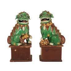 Pair 19th century Chinese Export Porcelain Foo Dog Lions or Mythical Beasts in Famille Vert Palette