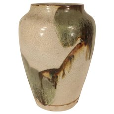 Large Antique 19th century Japanese Crackle Glaze Pottery Vase Decorated with Impressionist Abstract Tree Landscape for Aesthetic Movement or Mission Interior