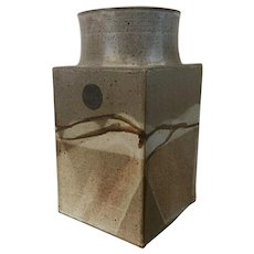 Large Mid Century Modern Art Pottery Square Vase signed Gay Schempr 1978