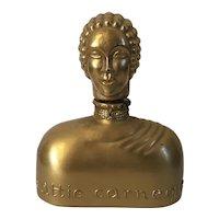 Hattie Carnegie Art Deco Figural Glass Perfume Bottle with Gold Finish
