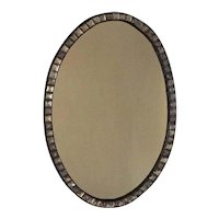 Antique Early 19th century George III Irish Oval Mirror with Facet Cut Jewel Border
