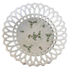 Antique Early 19th century French Empire Old Paris Porcelain Sprig Cornflower Basket or Corbeille
