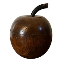 Vintage English Art Deco Mahogany Apple Form Tea Caddy or Box with Cover