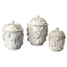 3 Antique French Samson Porcelain Blanc de Chine Jar & Cover with Applied Flowers after St. Cloud in the Chinese Kangxi Dehua Manner