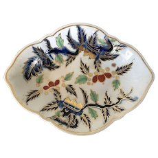 Antique 18th century Duesbury Derby Kakiemon Imari English Porcelain Oval Plate or Bowl Decorated with Chestnuts