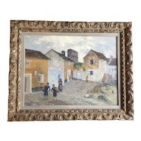 Wells Moses Sawyer Spanish Costa del Sol Mediterranean Port Town Landscape Oil Painting on Board Malaga, Spain 1920's