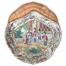 Antique 19th century Chinese Export Famille Rose Mandarin Shrimp Dish with Court Lady Scene