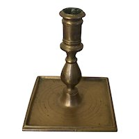 Antique 18th century English Brass Candlestick with Square Base and Baluster Stem