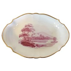 Antique Early 19th century English Porcelain Shaped Dessert Dish with Puce Sepia Landscape circa 1810