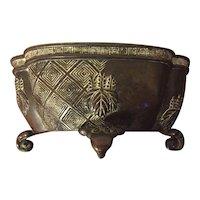 Antique 19th century Chinese Bronze Quatrefoil Shape Censer Bowl