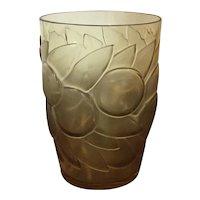 1930 Art Deco Rene Lalique Amber Tumbler Glass Vase Blidah Pattern Fruit and Leaves