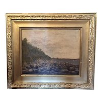 Antique 19th century Oil Painting on Canvas Seascape of the Maine Coastline