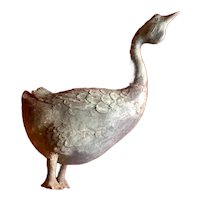 Art Deco Garden Statue Ornament in the Form of a Bronze Goose Sculpture with Verdigris Patina