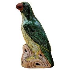 Antique 18th century Chinese Kangxi Porcelain Parrot Figure in Famille Vert Glaze