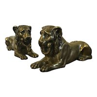 Pair Antique Early 19th century French Empire Bronze Models of the Capitoline or Egyptian Lion 1800