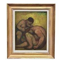 Eugene Higgins (American 1874 - 1958) Art Deco Oil Painting on Board of Samson and Delilah in Gilt Wood Frame circa 1930