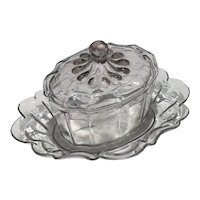 Antique Anglo Irish 18th century English Georgian Cut Glass Covered Sauce Tureen and Under Plate