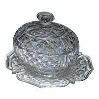 Antique French 19th century Molded and Cut Crystal Covered Sauce Tureen and Under Plate in the Baccarat Manner