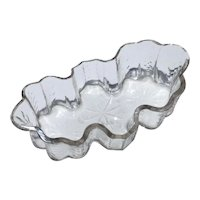 Antique 19th century English Cut and Molded Glass Center Bowl of Amoeba or Scallop Shape