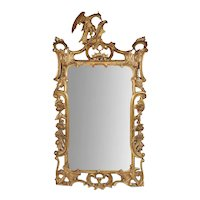 Antique 19th century English George III Carved Gilt Wood Chippendale Mirror with Ho Ho Bird