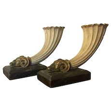 Pair Antique 19th century Grand Tour Ceramic Rhyton Ram's Head Vases on Faux Marble Plinths