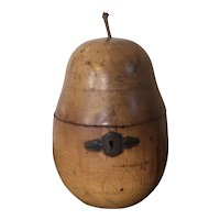Antique 18th century English George III Fruitwood Pear Form Carved Wood Tea Caddy