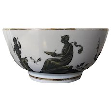 Early 19th century English Regency Coalport Porcelain Bowl Decorated en Grisaille with Neoclassical Silhouettes c. 1810