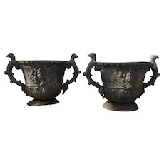 Pair Antique 19th century English Rococo Lead Garden Urns or Planters with Eagle Bird Handles