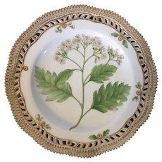 Royal Copenhagen Flora Danica Botanical Porcelain Plate with Reticulated Border