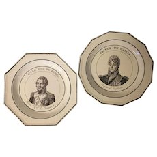 Antique Late 18th / Early 19th century Creamware Portrait Plates Including an English Example by Wedgwood and a French Example by Choisy