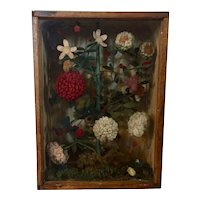 Antique 19th century American Victorian Folk Art Fancywork Stumpwork Embroidery Needlework Wool Flowers Framed Under Glass in a Wood Shadow Box