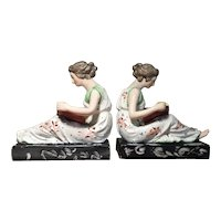 Pair Antique Early 19th century English Staffordshire Pearlware Figures of Reclining Classical Maidens Reading a Book on Faux Marble Plinth