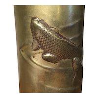Antique 19th century Japanese Bronze Cylinder Vase with Carp