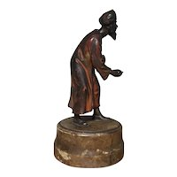 Antique 19th century Vienna Austrian Cold Painted Bronze Figure of an Arab or Indian Man Wearing a Turban and Holding a Coin and Money Sack