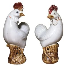 Pair Antique 18th century Chinese Export Porcelain Models of Roosters Cockerels or Chickens Standing on Rockwork